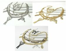 NEW HAIR STYLIST CRYSTAL SCISSORS COMB DRYER BRUSH MIRROR NECKLACE EARRINGS SET