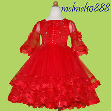 USMD39 Red Chrsitmas Baby Pageant Costumes Kids Girl Dress 1,2,3,4,5,6,7,8Yrs