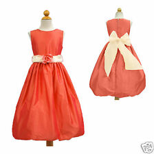 New Girl Wedding Easter Recital Formal Party Dress Coral Red size 6 8 10 12