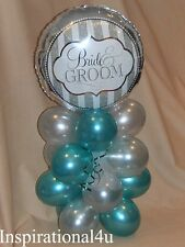 TEAL & SILVER BIRTHDAY, ANNIVERSARY, WEDDING, BALLOON DECORATION CENTERPIECE