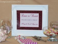 BURGUNDY & PINK PERSONALISED WEDDING/PARTY CANDY BUFFET TABLE SWEET BAR SIGN