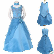 586 New Girl Pageant Wedding Recital Formal Party Dress size:4 6 8 10 12 14 Blue