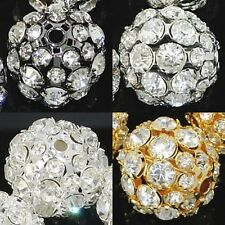 6mm-20mm Pave Crystal Rhinestone Hollow Round Ball Spacer Beads