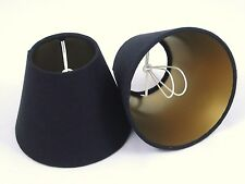 Candle Lampshades Handmade in UK - Black Linen with Gold Lining