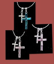 18K White Gold Plated Double Cross Pendant Necklace use Swarovski Crystals