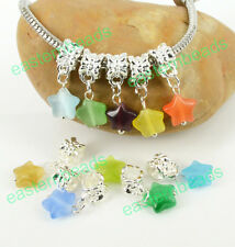 Wholesale 10mm Opal Star Dangle European Charm Beads Fit Bracelet Pick Colors