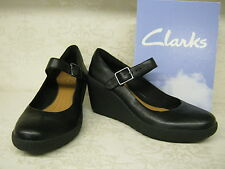 Clarks Flake Berry Black Leather Casual Wedge Bar Shoes
