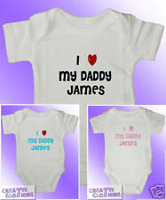 Short Sleeved Baby Grow Vest Bodysuit - I Love My Daddy PERSONALISED with name