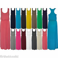 Womens Balloon Maxi Dress Ladies Sleeveles Racer Back Jersey Vest Long Skirt New