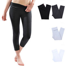 Solid Fold Over Waistband Capri Cotton Leggings Skinny Yoga Pants (High Quality)
