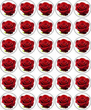 RED ROSE FLOWER EDIBLE PRINTED ICING CUP CAKE DECORATION TOPPERS