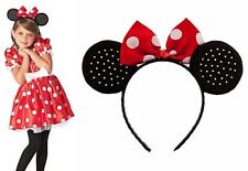 Disney Store Classic Minnie Mouse RED Costume Dress + Yellow Shoes + Ears SET