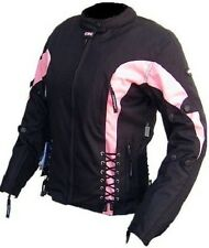 Nwt Women Black & Pink Motorcycle Jacket Ultimate Protected Armor 6 Pockets Size