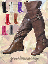 New Women Over the Knee buckle Fashion Flat Boots 8 colors
