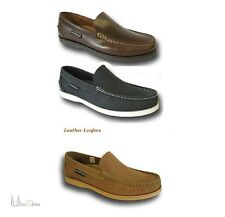 Mens Yachtsman Leather Navy Tan Brown Deck Boat Loafers Slip-on Shoes All Sizes