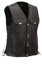 Mens 100% Pure Leather Black Waistcoat / Bikers Vest (B5)