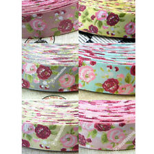 New 1 Inch 25mm 5 Yards Peony Flower Grosgrain Ribbon Sewing Craft 6 Color