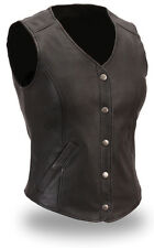 Very Sexy Womens/Ladies Pure Leather Waistcoat /Vest With Front Press Studs (W2)