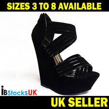 Ladies Womens Sandals Wedge Heel Beach Summer Shoes Size 3 4 5 6 7 Black (SLK23