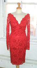 Baylis Knight RUBY RED French Lace Long Sleeve *Sexy* TWIST Wiggle Dress