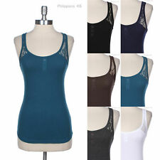 Floral Lace Shoulder Strap Cross Back Buttoned Sleeveless Cotton Tank Top Cute