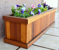 "Redwood Flower Planter Box. For Windows, Balconies or Decks. Up to 48"" L"