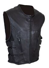 New Mens Sexy & Stylish S.W.A.T Style Pure Leather Bikers Waiscoat / Vest BLUF