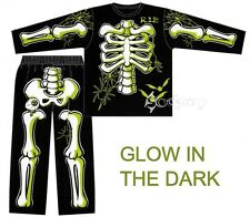 Boys Skeleton Halloween Glow in the Dark Long Pyjamas Ages 3-10 Years