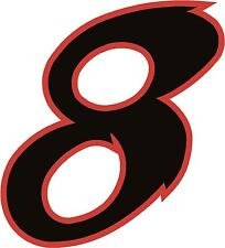 "x1 2"" Digit  (more in ebay shop) Race Numbers vinyl stickers Style 2 Black/Red"