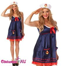 Navy Sailor Girl Uniform Ladies Rockabilly Pin Up Fancy Dress Costume & Hat