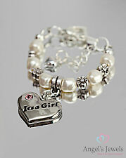 Personalized New Baby Christening Bracelet/Charm Girl or Boy/Swarovski Pearls