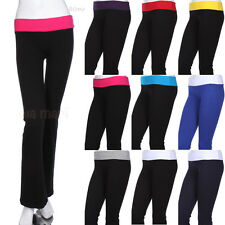 Cotton Contrast Color Block Fold Over Waistband Long Yoga Pants Athletic Span