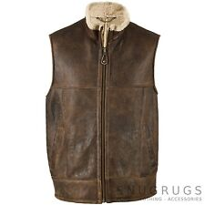 MENS GILET BODY WARMER GENUINE NAPPA LEATHER & REAL SHEEPSKIN (HARVCHOC05)
