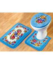 Bathroom Mat Set  Set of 3 Pedistal Bath Mat and Toilet Cover