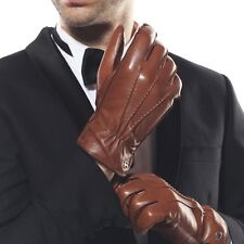 ELMA Men Nappa leather Gloves fleece lining+Thinsulate quilted elasticated cuff