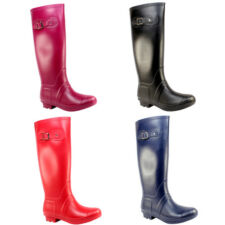 WOMENS TALL KNEE HIGH SIDE BUCKLE CLASSIC RUBBER WELLINGTON BOOTS LADIES 3-8