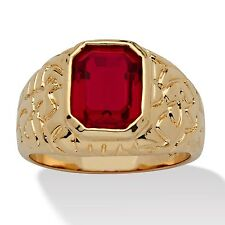 Men's Emerald-Cut Simulated Ruby 14k Yellow Gold-Plated Nugget Style Ring