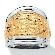 14k Gold-Plated .925 Sterling Silver Two-Tone Scroll Motif Cigar Band Ring