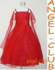 R4012 NWT RED ORGANZA BFY PAGEANT FLOWER GIRL DRESS Sz 4 6 8 10 12 14 16 18