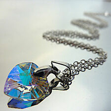 Heart Pendant Necklace With Swarovski Crystal 10mm/New/Blue/White/Green/Gift