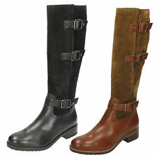 LADIES CLARKS SUEDE LEATHER BUCKLE ZIP CASUAL KNEE HIGH BOOTS SHOES TAMRO MARINA