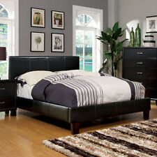 Winn Contemporary Style Espresso Finish Leatherette Platform Bed Frame Set