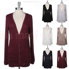 Solid Button Down Plain Long Sleeve V Neck Tunic Cardigan with 2 Side Pockets
