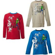 Boys Long Sleeve Ben 10 Character T-Shirt Blue Grey Red Sizes 5-10 Years