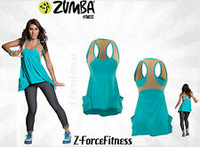 Zumba Fitness ~ RELAXIN WORKOUT Tank Top ~ Aqua Ceramic Gold New NWT HTF REDUCED