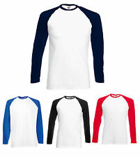 2 FRUIT OF THE LOOM LONG SLEEVED BASEBALL T SHIRT S - XXL - 6 Colours Fast Post