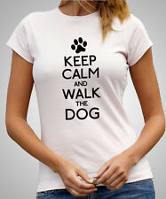 Keep Calm And Walk The Dog - Ladies Fitted T-Shirt, Girls Skinny Fit Tee (D335)