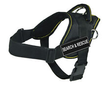 Working Dog Harness Yellow Trim with Search & Rescue Velcro Patch Label Tag