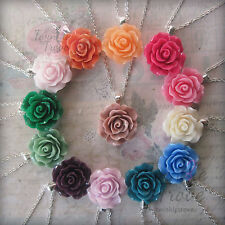 Carved Rose Pendant Necklace-Bridesmaid Flower girl Prom Party Dress. 30 Colours