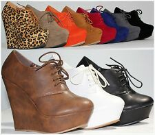 Brand New Women's Round Toe High Heel Platform Oxford Lace Up Booties Wedge